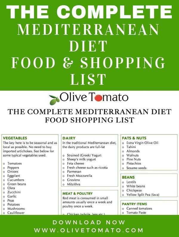 Explore the wonderful Mediterranean Diet. Print this free complete Mediterranean Diet Food List that is based on the authentic Mediterranean Diet. By Mediterranean Diet Expert and Registered Dietitian Nutritionist Elena Paravantes RDN.