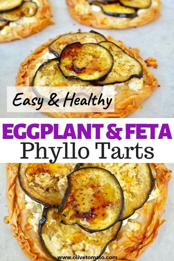 Eggplant and feta tart, drizzled with honey #eggplant #tart #feta #phyllo #pie #greek #recipes