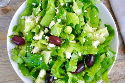 Greek Green salad with romaine lettuce and feta
