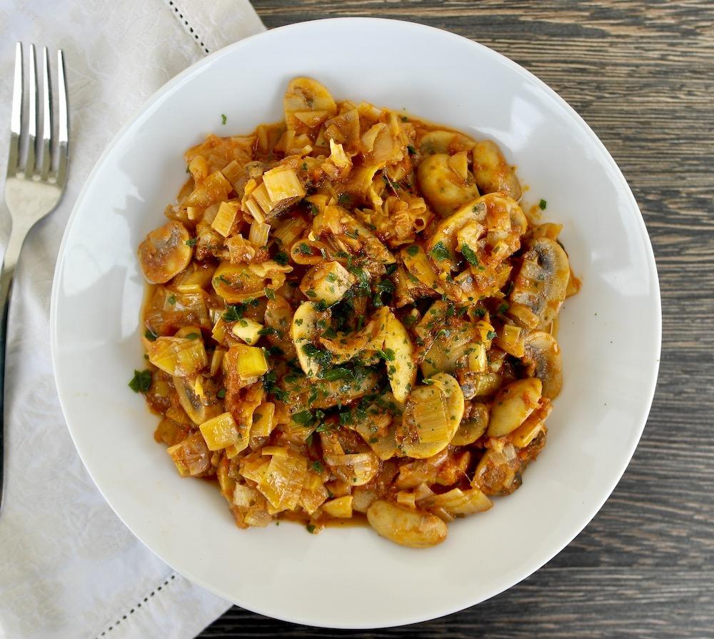 One-pot Mushroom-leek casserole