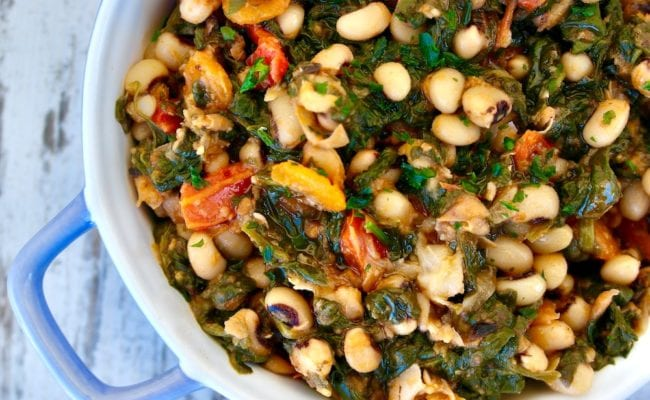 Stewed Black eyed peas and spinach