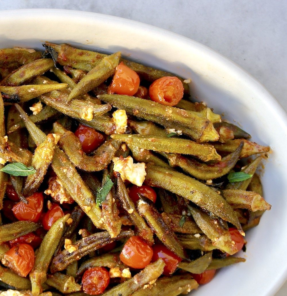 Greek Roasted Okra with tomato-Bamies