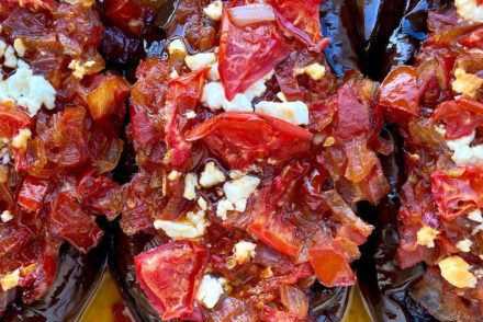 MEDITERRANEAN EGGPLANT STUFFED WITH FRESH TOMATO AND ONION