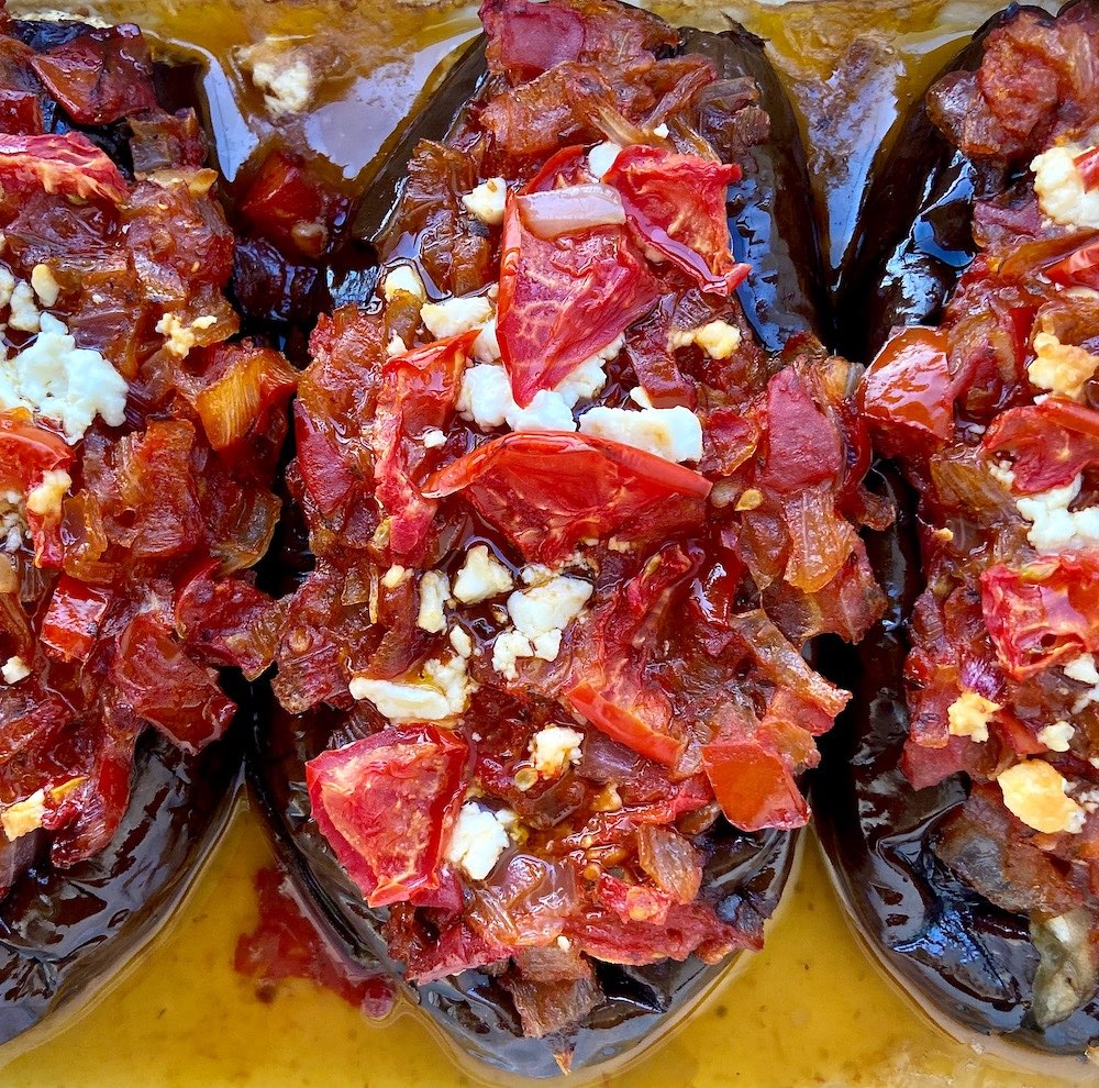 MEDITERRANEAN EGGPLANT STUFFED WITH FRESH TOMATO AND ONION Imam
