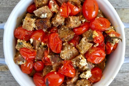 Easy Roasted Cherry Tomatoes with Feta and Crispy Croutons.