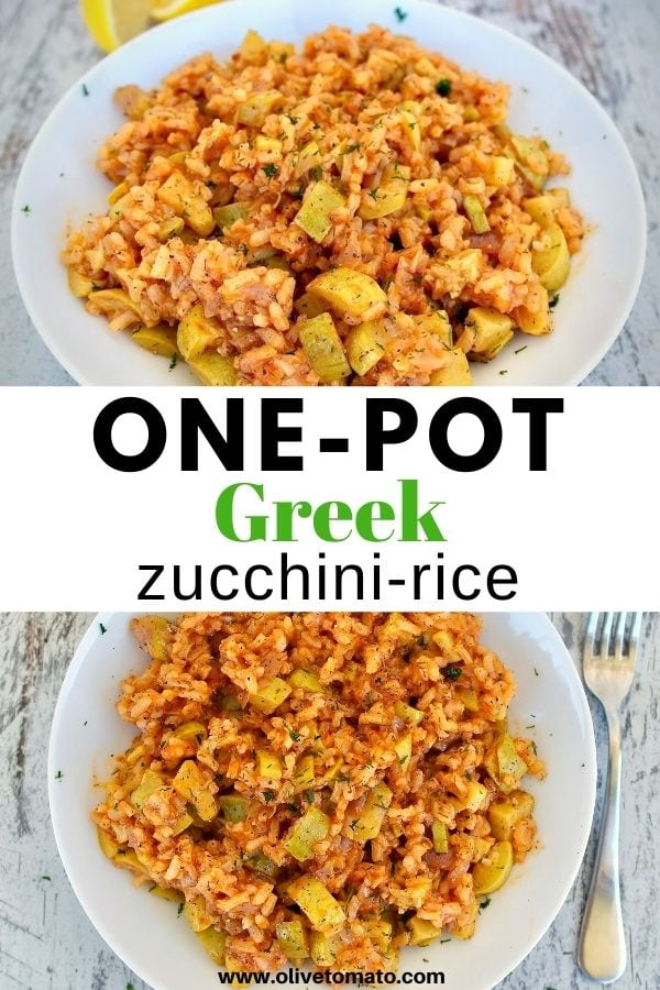 Delicious and easy Greek one-pot zucchini rice! #zucchini #mediterraneandiet #greekfood #easyrecipe