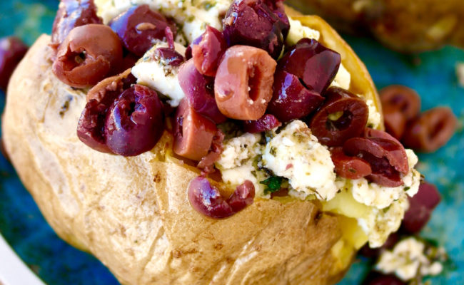 Mediterranean Stuffed Baked Potatoes with Marinated Feta and Kalamata Olives