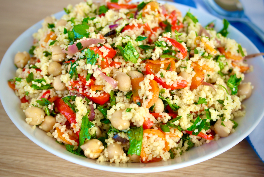 Roasted Vegetable and Chickpea Couscous and herbs
