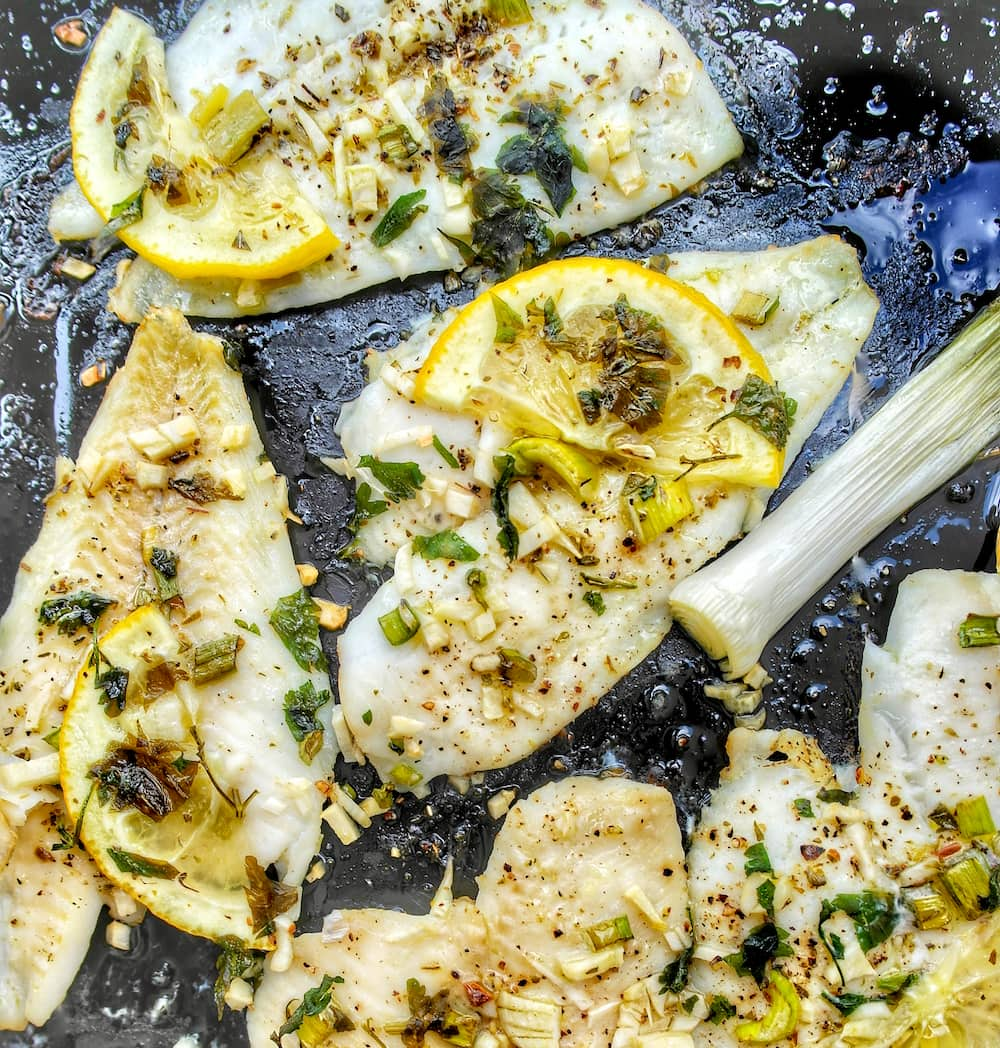 Mediterranean Baked Sole with Greek Ladolemono Dressing