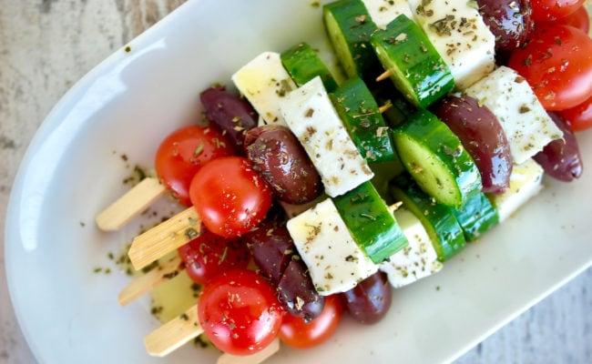 Greek salad skewer appetizer