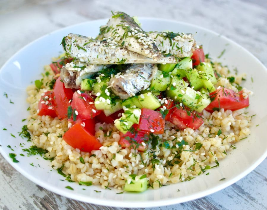 Mediterranean Bulgur Salad with Cucumbers, Tomatoes, Sardines and Fresh Herbs