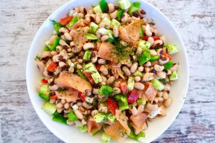 Colorful Black-Eyed Pea Salad with Smoked Salmon