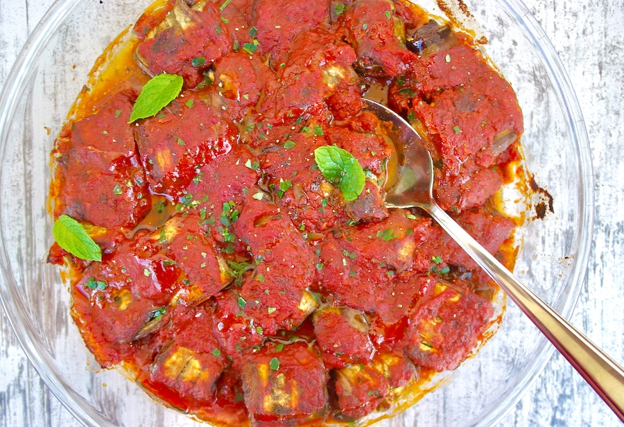 Greek Eggplant Rolls with Feta and Rich Tomato Sauce Rollatini
