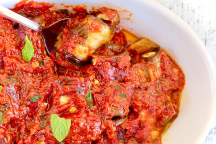 GREEK EGGPLANT ROLLS WITH FETA AND RICH TOMATO SAUCE